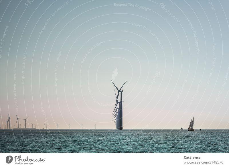 Die Energie des Windes Segeln Meer Wellen Segelboot Technik & Technologie Energiewirtschaft Erneuerbare Energie Windkraftanlage Umwelt Natur Landschaft