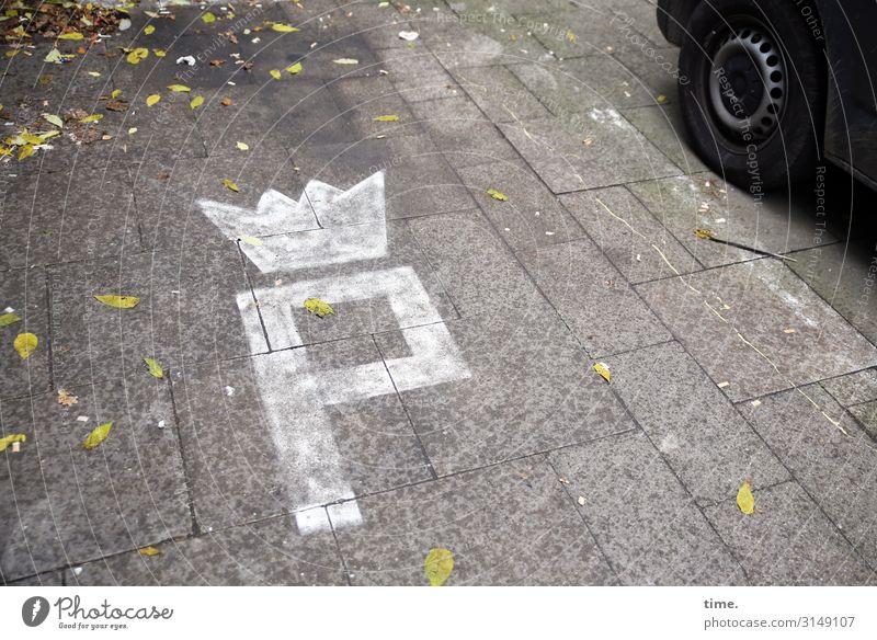 parken deluxe Herbst Platz Verkehr Autofahren Bodenplatten Parkplatz Reifen Krone Fahrzeug PKW Farbe Stein Zeichen Ornament Hinweisschild Warnschild