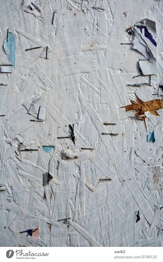Das Neueste von gestern Schwarzes Brett Information Infotafel Heftklammern Klammer Papier Papierfetzen Rest Holz Metall alt einfach kaputt trist Verfall