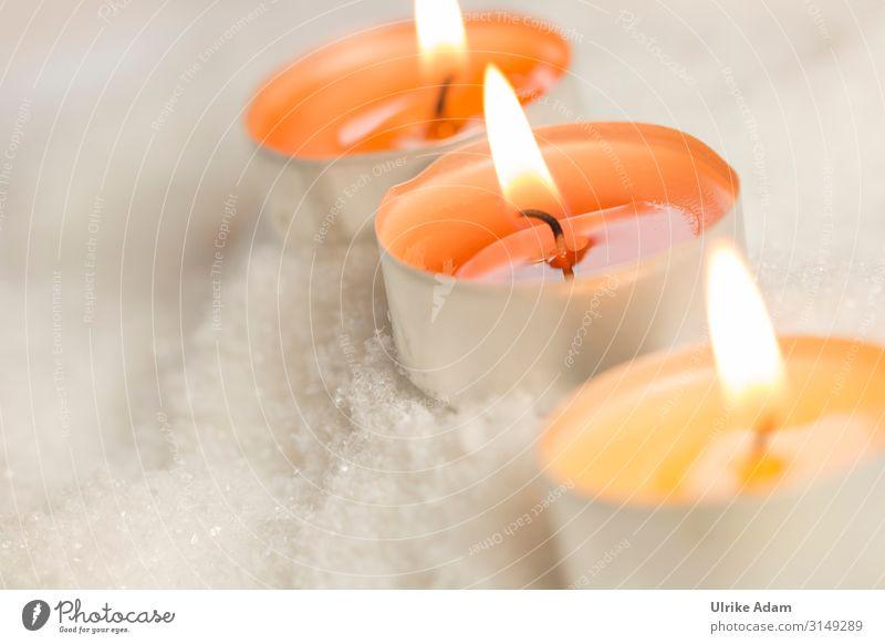 Lichter zum Advent Weihnachten & Advent Erholung ruhig Winter Religion & Glaube Schnee Gefühle orange Zufriedenheit Dekoration & Verzierung leuchten Geburtstag