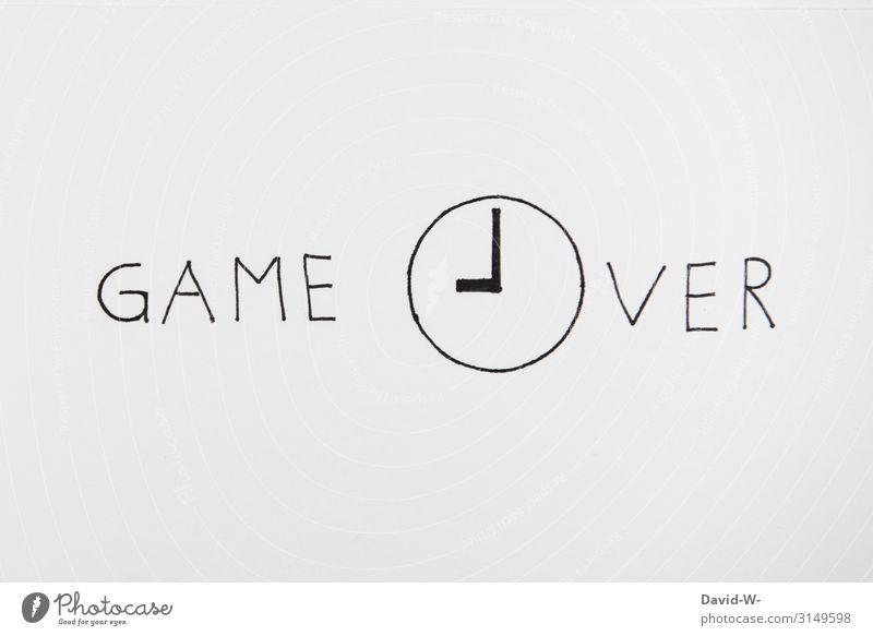 """Game Over Game over game Wortspiel Wörter zu ende gehen Schluss vorbei geschrieben"""" Zeichnung Kreativität kreativ Uhr Uhrzeit abgelaufen Blatt Textfreiraum oben"""