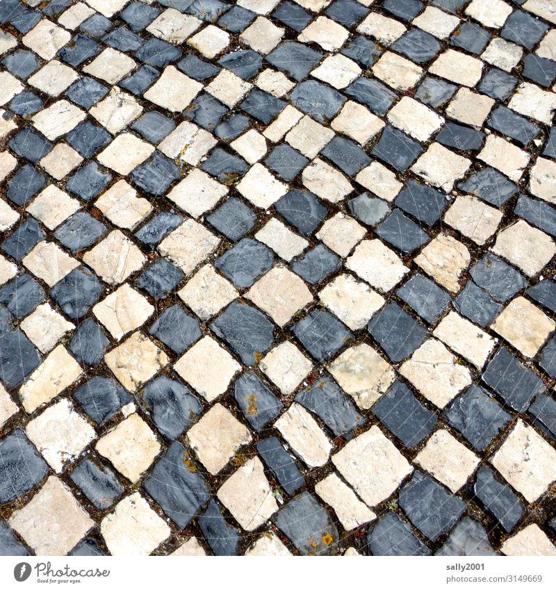Mosaikversuch... Verkehr Verkehrswege Wege & Pfade Kopfsteinpflaster Stein außergewöhnlich eckig Schwarzweiß Pflastersteine Pflasterweg ungenau alt chaotisch