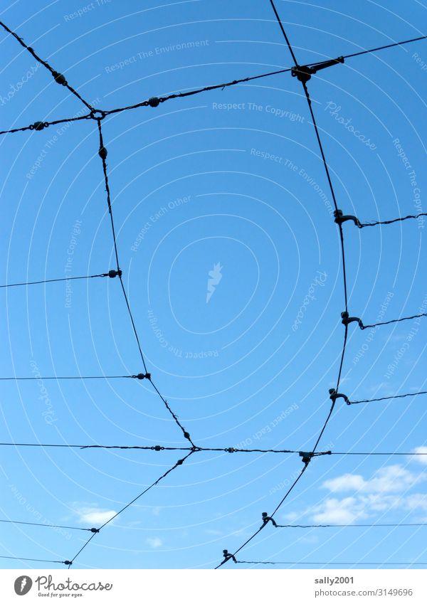 Stromversorgung... Stromleitung Stromkabel Kabel Elektrizität Technik & Technologie Stromversorung Leitung Verzweigung Himmel blauer Himmel Energie Draht