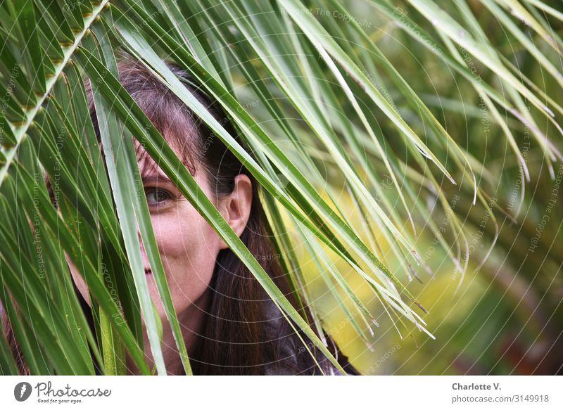 Hervorlugen   UT HH19 Expedition Flirten Mensch feminin Frau Erwachsene Leben 30-45 Jahre Natur Tier Pflanze Grünpflanze Wildpflanze exotisch Palme Palmenwedel
