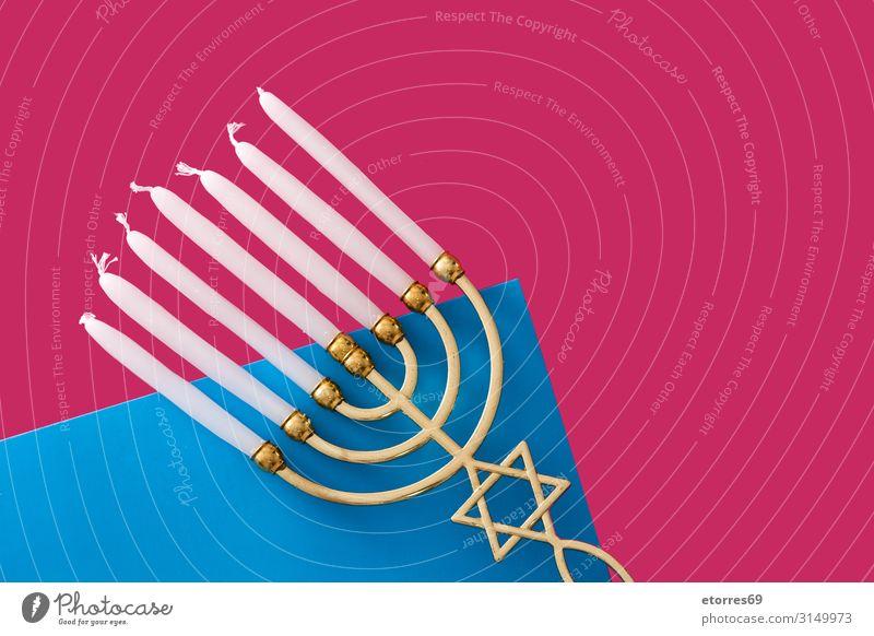Jüdische Chanukkah-Menora auf blauem und rosa Hintergrund Hanukkah Menorah Kerze leuchten Feste & Feiern Israelis Feiertag gold Kerzenleuchter Kultur david