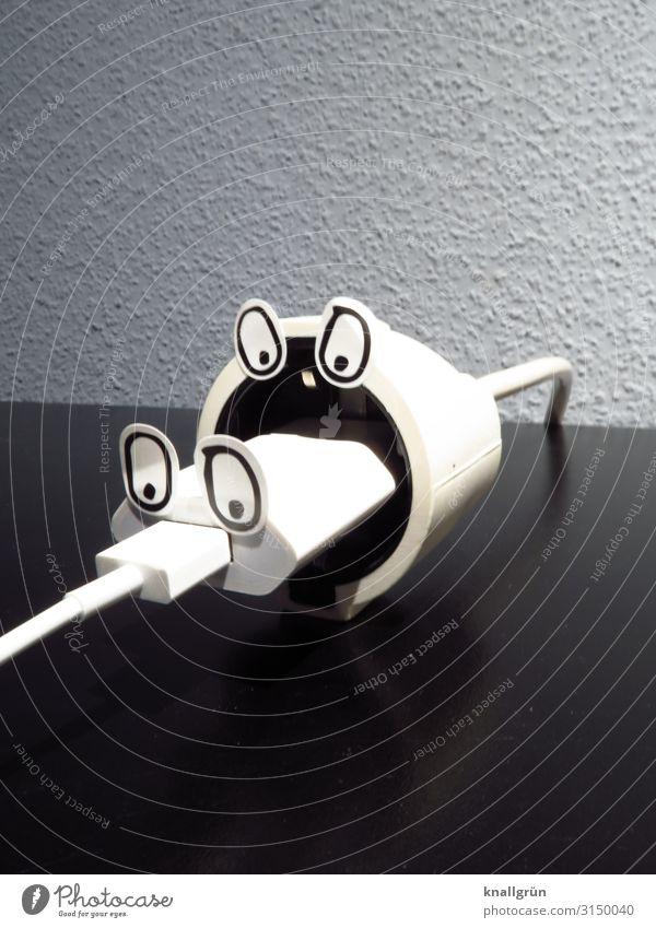 Ich hab dich zum fressen gern Stecker Fressen grau schwarz weiß Gefühle Kontakt USB Stecker Netzteil Auge Verbundenheit zusammengesteckt Zusammensein