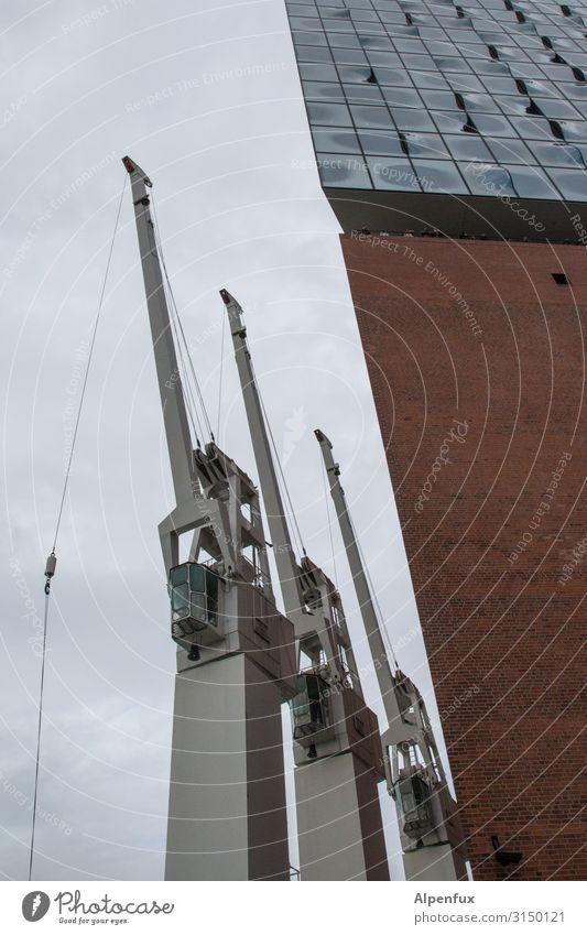 Drei Arbeitslose | UT HH19 Technik & Technologie Industrie Kran Hafen Hafenstadt Hamburg Hamburger Hafen Hafenkran Farbfoto Außenaufnahme Menschenleer