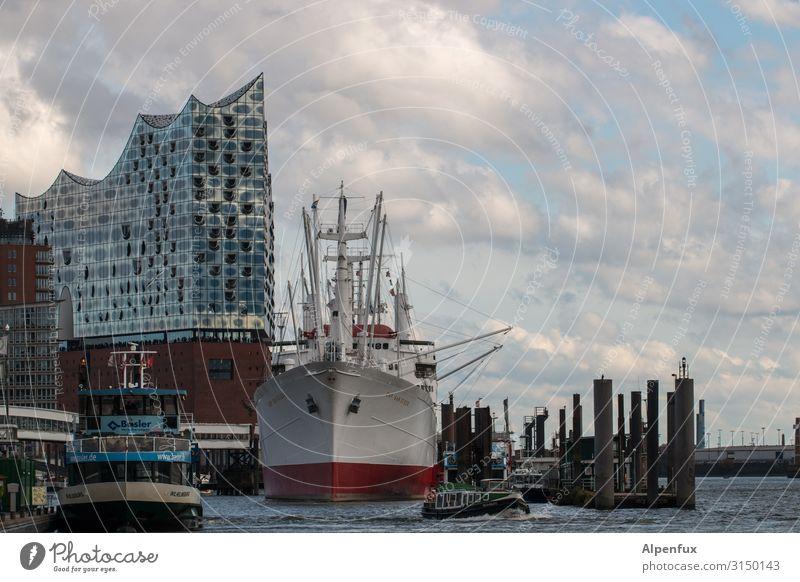Schiff mit Beiwerk | UT HH19 Hamburg Hamburger Hafen Elbe Hafenstadt Architektur Sehenswürdigkeit Wahrzeichen Elbphilharmonie Schifffahrt Binnenschifffahrt