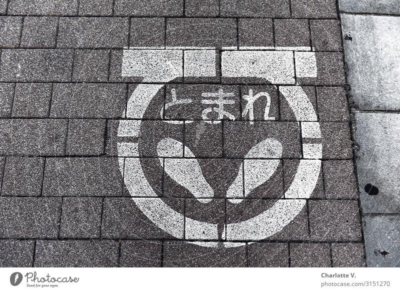 Standpunkt Tokyo Japan Hauptstadt Verkehrswege Straßenverkehr Fußgänger Bürgersteig Fußgängerübergang Zeichen Schriftzeichen Hinweisschild Warnschild Linie