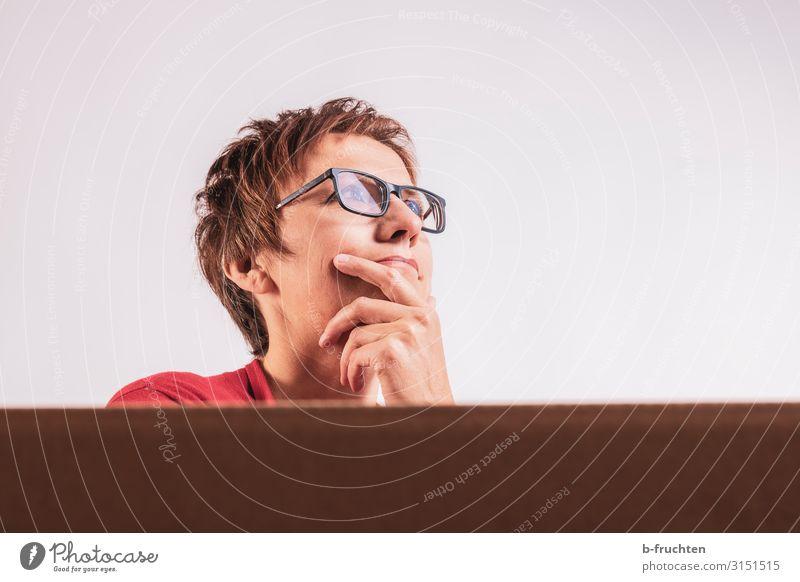 nachdenkliche Frau mit Brille lernen Büroarbeit Arbeitsplatz Wirtschaft Business Karriere Sitzung Erwachsene Gesicht 1 Mensch 30-45 Jahre