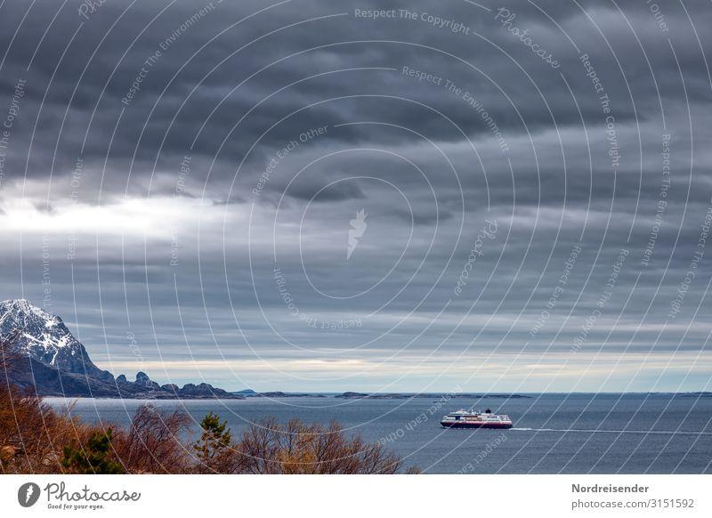 Mit dem Postschiff in Norwegen unterwegs Ferien & Urlaub & Reisen Tourismus Ferne Sightseeing Kreuzfahrt Landschaft Urelemente Wasser Himmel Wolken