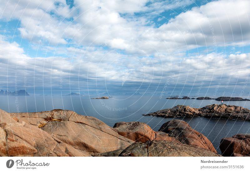 Lofoten Ferien & Urlaub & Reisen Tourismus Abenteuer Ferne Freiheit Meer Insel Natur Landschaft Urelemente Wasser Himmel Wolken Sommer Schönes Wetter Felsen