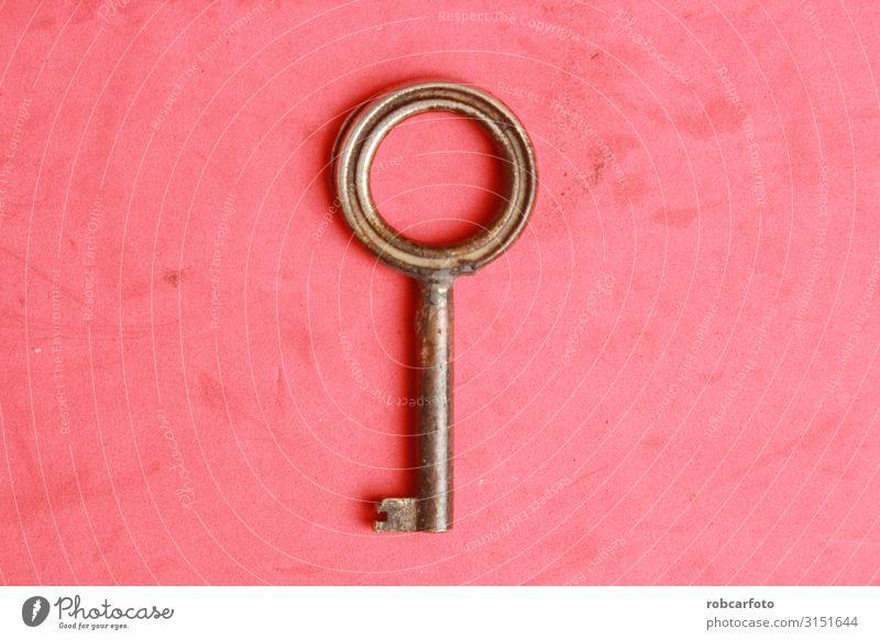 alter Schrankschlüssel in Farbe hinterlegt Stil Design Möbel Kunst Holz retro braun Vorderseite zugeklappt klassisch heimwärts Kleiderschrank Konsistenz Taste