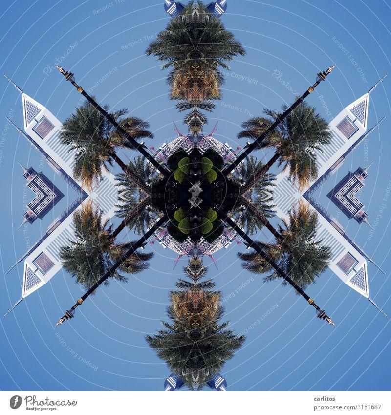 Carligraphie Architektur Tourismus modern Hochhaus Straßenbeleuchtung Laterne Palme Reaktionen u. Effekte Dubai Composing Vereinigte Arabische Emirate
