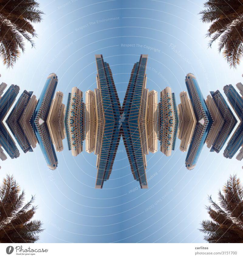 Zum Kippen zu schade .... Architektur Tourismus Fassade modern Hochhaus glänzend Glas Beton Geld Skyline Macht Geldinstitut Bankgebäude Wirtschaft Dubai