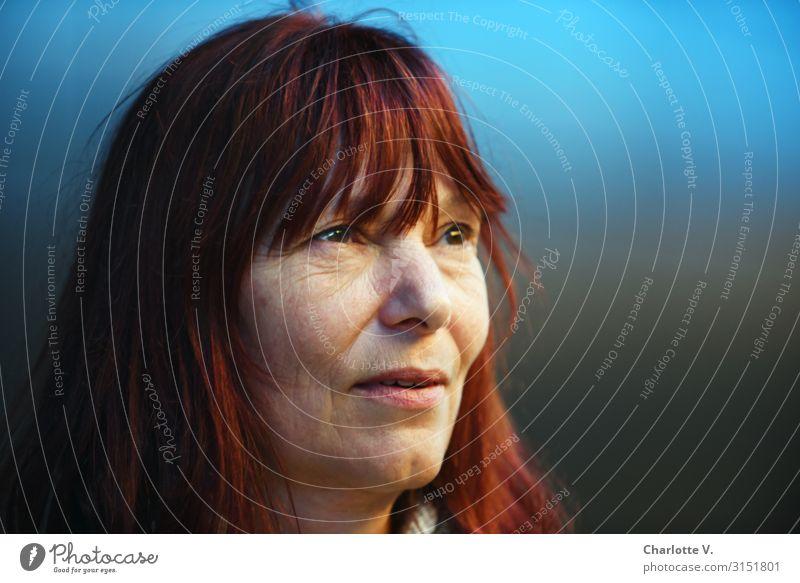 Im Blauen | UT HH 19 Mensch feminin Frau Erwachsene Weiblicher Senior 45-60 Jahre Denken leuchten Blick träumen frei einzigartig nah natürlich schön stark Wärme