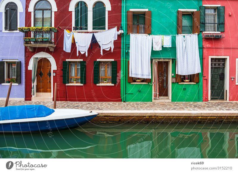 Bunte Gebäude auf der Insel Burano bei Venedig, Italien Erholung Ferien & Urlaub & Reisen Tourismus Haus Wasser Stadt Altstadt Architektur Fassade