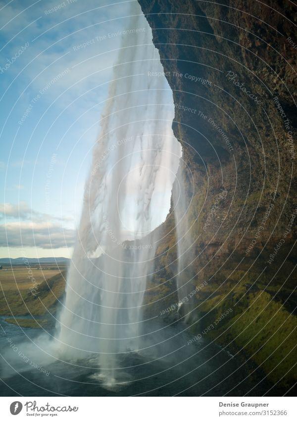 View behind a waterfall on Iceland Ferien & Urlaub & Reisen Tourismus Sightseeing Sommer Umwelt Natur Landschaft Wasser Klima Schönes Wetter Wasserfall Kraft