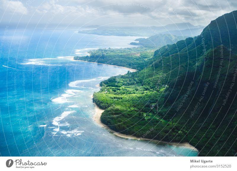 Luftaufnahme der abrupten und grünen Napaliküste in Kauai, USA schön Ferien & Urlaub & Reisen Sommer Strand Meer Insel Berge u. Gebirge Garten Natur Landschaft