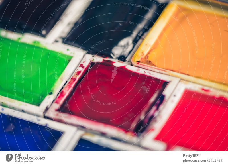 Aquarellfarbkasten Freizeit & Hobby malen Aquarellfarben Kunst Maler Gemälde eckig mehrfarbig Design Kreativität Farbfoto Nahaufnahme Detailaufnahme