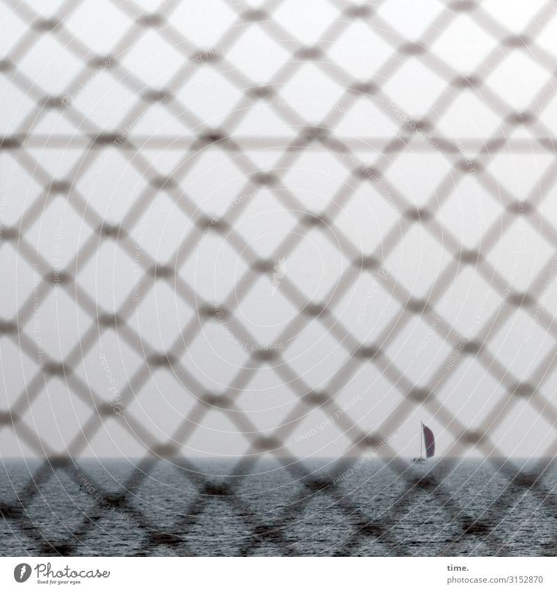 Geschichten vom Zaun (XXX) Himmel Horizont Wetter Ostsee Schifffahrt Segelboot Gitter Gitternetz Maschendraht Maschendrahtzaun Wasser Linie Netzwerk Ferne