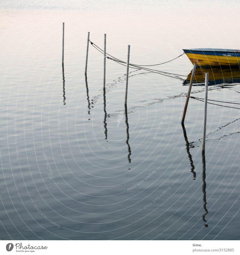 Seilschaften #27 Wasser Schönes Wetter Schifffahrt Fischerboot Hafen Anker Tau Festmacher Stab angekettet liegen Schwimmen & Baden maritim Zufriedenheit