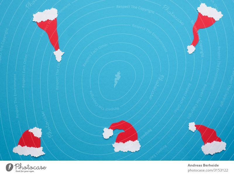 Five handmade hats of Santa on a blue background Design Freude Winter Veranstaltung Weihnachten & Advent Hut Mütze Papier Dekoration & Verzierung Fahne einfach