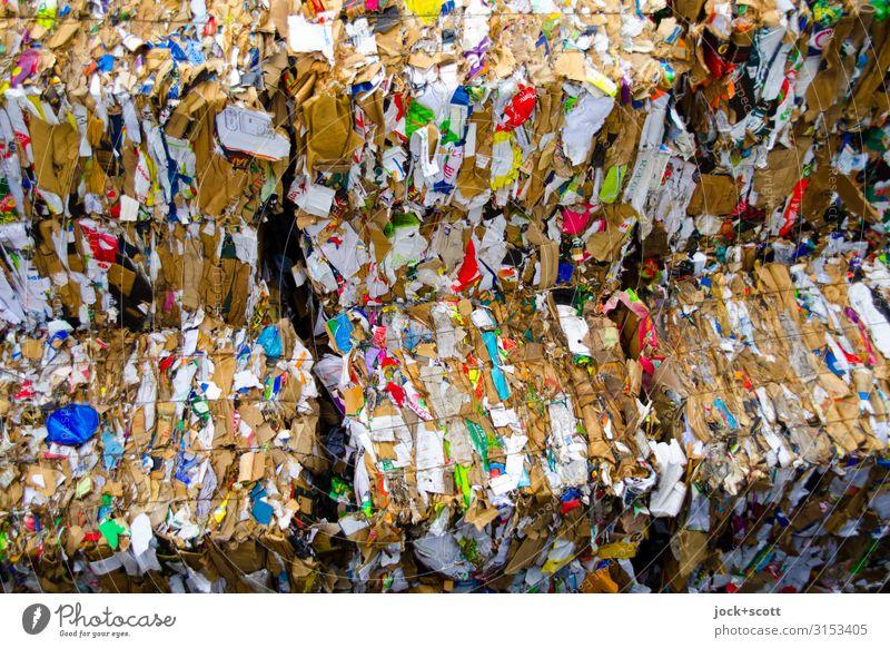 Altpapier in Lagerung Sammelstelle Papier Karton Bündel authentisch trashig unten viele Trennung Umweltverschmutzung Zerstörung Recycling entsorgen Sammelgut