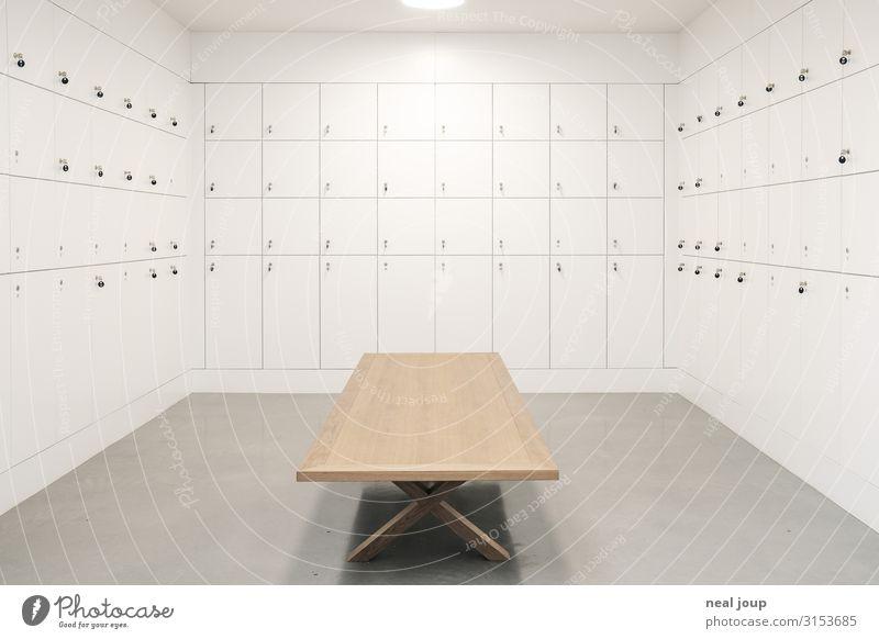 Locker room Stil Museum Schließfach Vitra Design Museum Schlüssel ästhetisch hell Sauberkeit weiß Genauigkeit Handel Kontrolle Kultur Ordnung