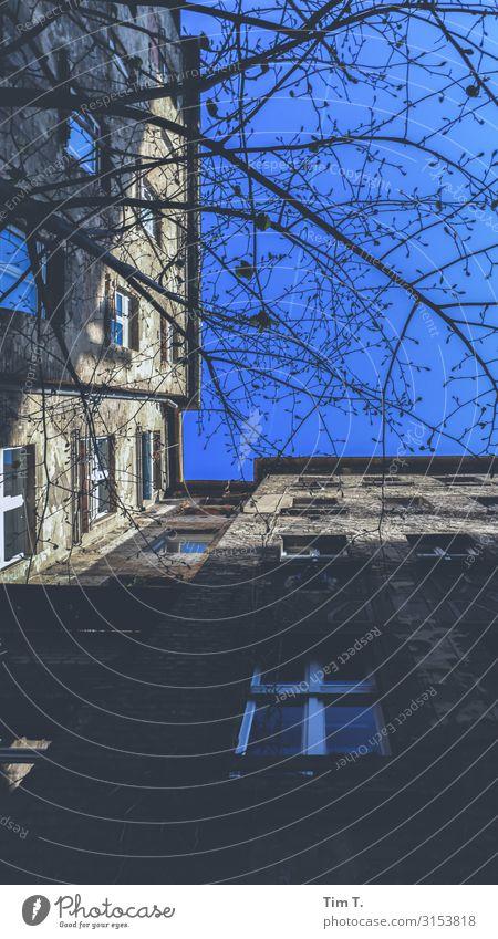 Berlin Prenzlauer Berg Stadt Hauptstadt Stadtzentrum Altstadt Menschenleer Haus Gebäude Mauer Wand Fenster Dachrinne Häusliches Leben Schönhauser Allee Hof