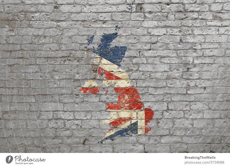 Fahnenkarte von Großbritannien auf Backsteinmauer gemalt Stil Design Kunst Kunstwerk Gemälde Kultur Stein Graffiti verblüht blau grau rot weiß Landkarte England