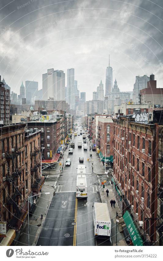 Chinatown, New York City Himmel Ferien & Urlaub & Reisen Stadt Haus Wolken Straße Architektur Gebäude Fassade PKW Verkehr Hochhaus Sehenswürdigkeit Skyline