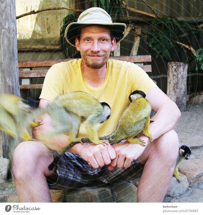 lieblingsmensch | weil er so viel aushält Lächeln Spaß haben Tier Hut Detailaufnahme Fernweh Ausflug Tourismus Wildtier Ferien & Urlaub & Reisen Tiergesicht