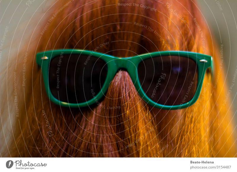Maskerade schön grün rot Erholung Freude lustig Feste & Feiern außergewöhnlich Haare & Frisuren leuchten Kommunizieren glänzend Fröhlichkeit genießen Zeichen