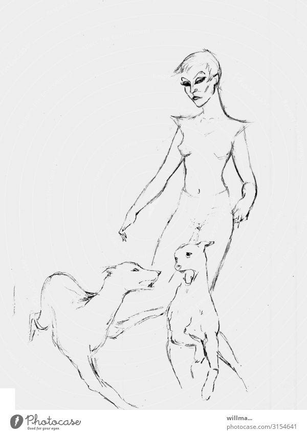 Skizze einer Frau mit zwei Hunden Zeichnung Entwurf Grafik u. Illustration feminin 2 Hundehalterin Kunst dominant Textfreiraum Hintergrund neutral sw