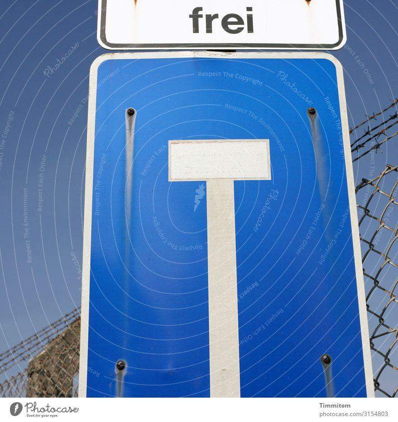 Sackgasse Himmel Heidelberg Verkehr Straße Metall Schriftzeichen Hinweisschild Warnschild blau weiß Gefühle Verbote Barriere Zaun Maschendrahtzaun Stacheldraht