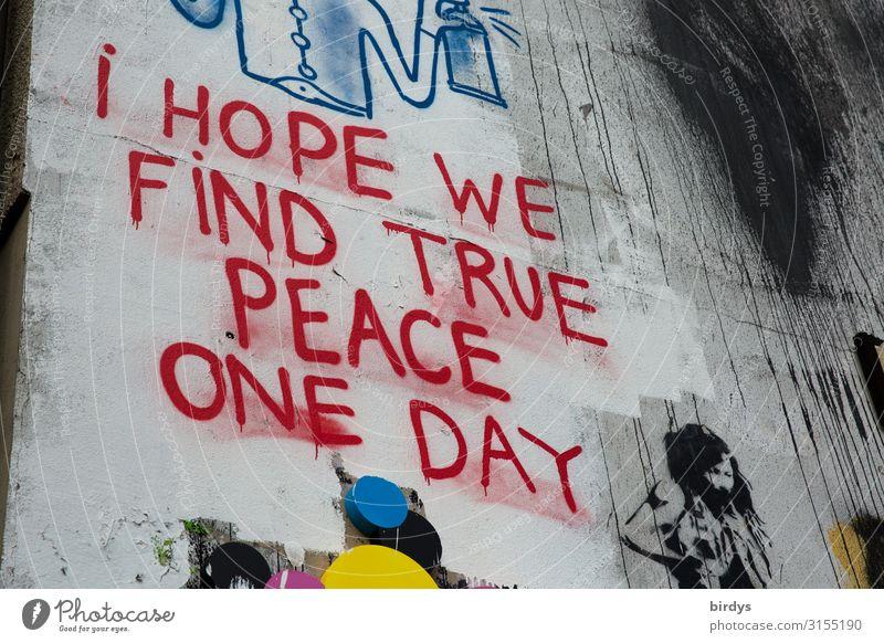 Das hoffe ich auch Mauer Wand Schriftzeichen Graffiti Kommunizieren authentisch nachhaltig positiv Stadt blau grau rot weiß Vorfreude Optimismus friedlich