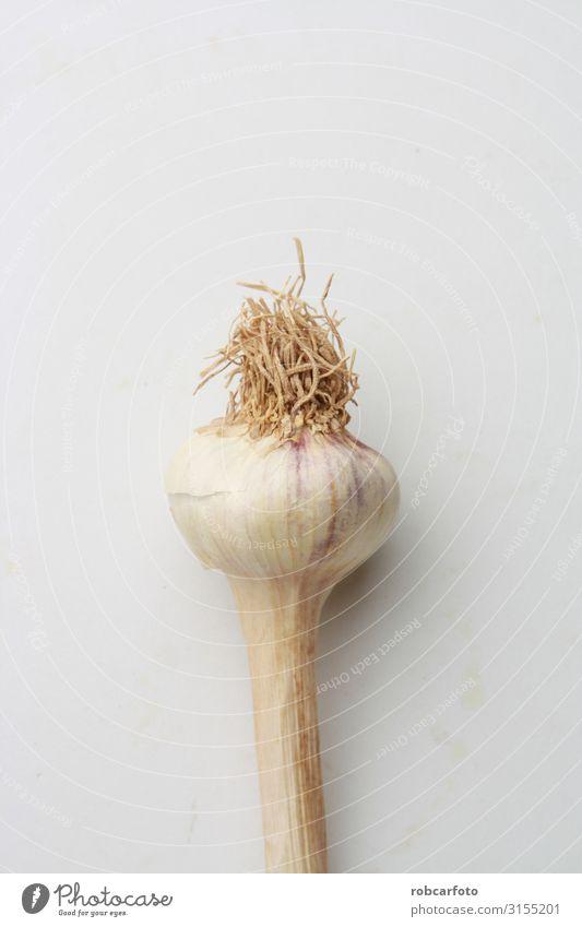 Knoblauchkopf in farbigem Hintergrund Gemüse Kräuter & Gewürze Vegetarische Ernährung Pflanze frisch natürlich weiß organisch Kopf roh Knolle Gesundheit