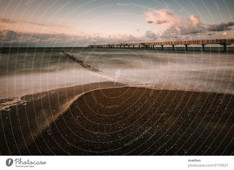 Seebrücke strand meer ostsee Himmel Menschenleer Horizont Langzeitbelichtung wolken sand buhnen brandung