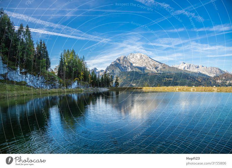 Alpen im Berchtesgadener Land Umwelt Natur Landschaft Himmel Wolken Herbst Schönes Wetter Baum Gras Wald Felsen Berge u. Gebirge Gipfel Seeufer Diät Fitness