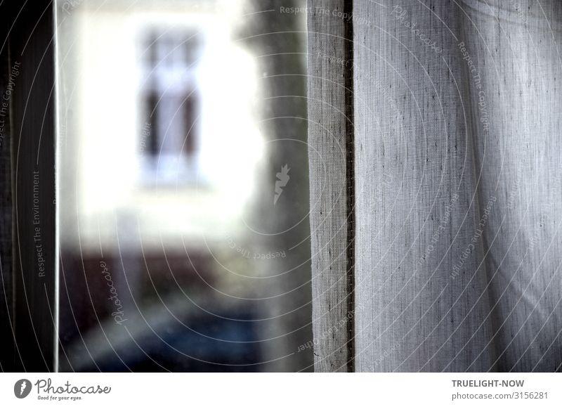 Einen Blick nach draußen werfen Haus Mauer Wand Fassade Fenster Gardine braun gelb grau weiß Neugier Interesse Kommunizieren Kontakt Kontrolle Perspektive