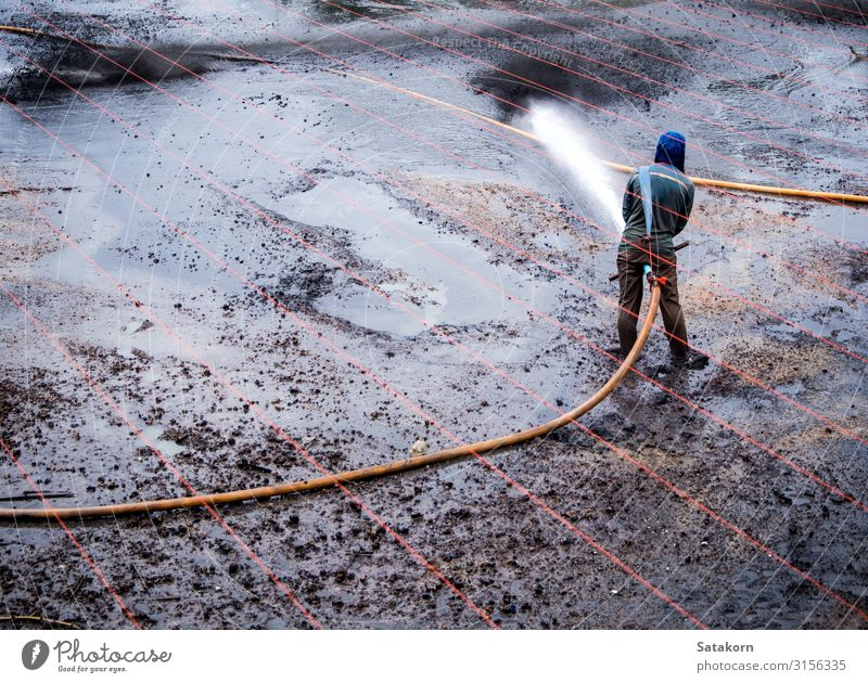 Reinigung des Schlamms am Boden des Teiches Arbeit & Erwerbstätigkeit Landwirtschaft Forstwirtschaft Mensch Mann Erwachsene 1 Natur Landschaft Wassertropfen