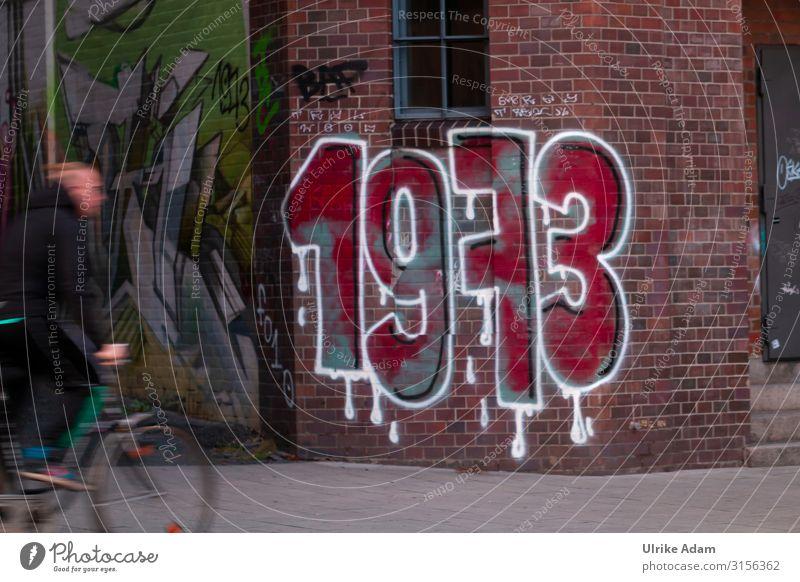 1973 Graffiti Hamburg Stein Zeichen Ziffern & Zahlen Tropfen fahren außergewöhnlich trendy verrückt rot weiß Design Stadt Vergangenheit Backstein Mauer