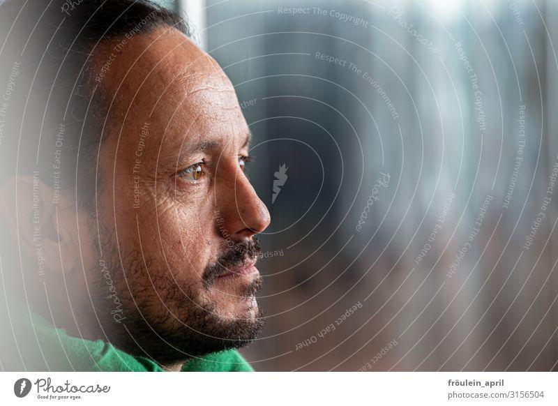 Profil | UT HH19 Mensch Mann schön grün schwarz Gesicht Erwachsene Kopf Denken grau maskulin modern Kraft 45-60 Jahre Abenteuer einzigartig