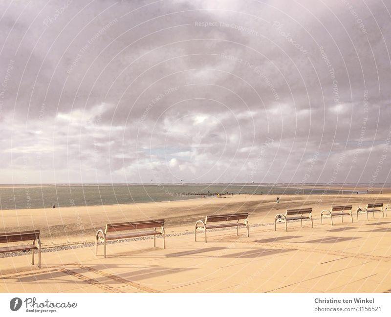 Strandpromenade auf Borkum Ferien & Urlaub & Reisen Tourismus Ferne Freiheit Meer Mensch Sand Wasser Erde Himmel Wolken Sonnenlicht Küste Nordsee Insel Bank