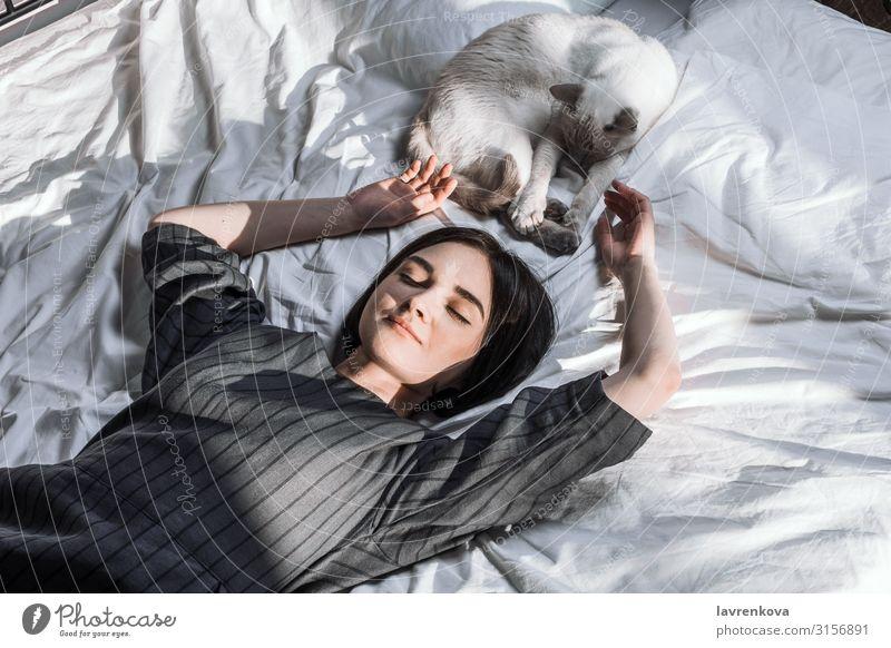 Frau im Bett liegend und mit ihrer Katze und ihrem Bücherstapel Adoption Bettwäsche Schlafzimmer Decke Bettdecke gemütlich gesichtslos Finger Pelzmantel