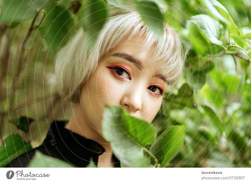 Asiatisches Weibchen in grünen Blättern, flacher selektiver Fokus Baum Frühling Garten Sommer Asiate blond Nahaufnahme niedlich Auge Gesicht Frau Junge Frau