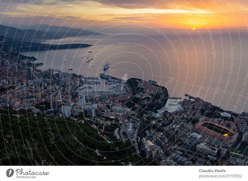 Monaco von oben bei Sonnenaufgang betrachtet Lifestyle Reichtum elegant Geld Ferien & Urlaub & Reisen Tourismus Sommer Sommerurlaub Monte Carlo Europa