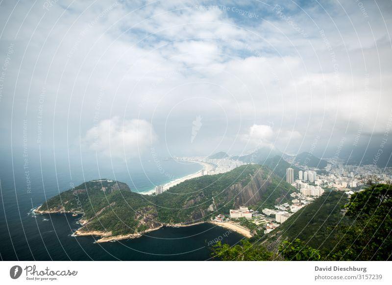 Rio de Janeiro Ferien & Urlaub & Reisen Tourismus Sightseeing Städtereise Landschaft Wolken Schönes Wetter Küste Strand Bucht Meer Stadt überbevölkert blau gelb