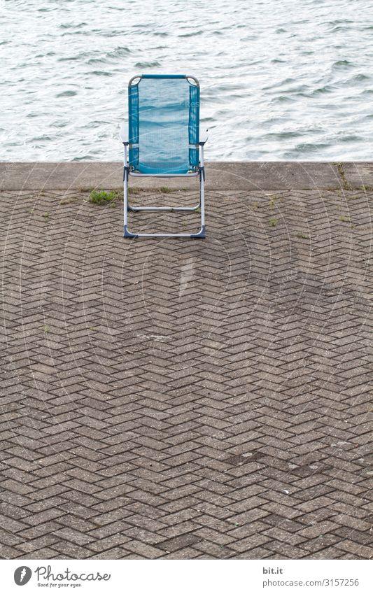 Sonntagsplatz Freizeit & Hobby Angeln Ferien & Urlaub & Reisen Tourismus Freiheit Camping Sommer Sommerurlaub Sonnenbad Strand Stuhl Umwelt Wasser Küste Seeufer